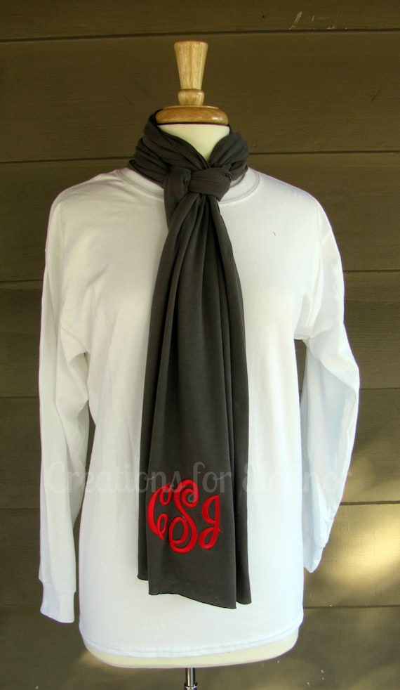 Monogram Scarf, Women's Monogrammed Scarf, Ladies Monogram Scarf, Monogrammed Lightweight Scarf, Personalized T-shirt Scarf, Scarf, Scarves