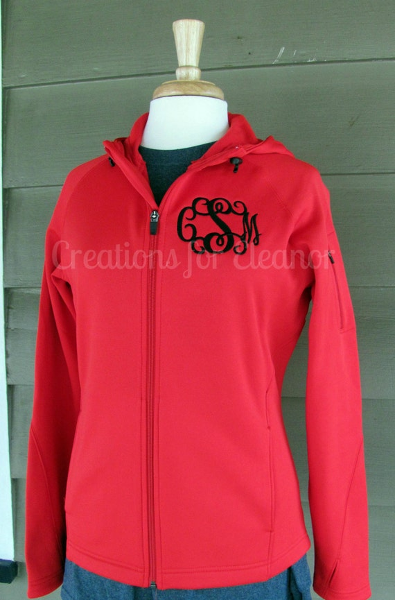 Womens Monogrammed Fleece Jacket, Monogrammed Exercise Jacket, Monogram Windbreaker, Monogram Coat, Monogrammed Pullover, Wicking