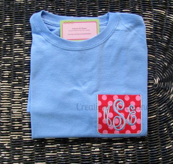 Girls Monogrammed Pocket T-shirts, Monogrammed T-shirt, Girls Faux Pocket, Girls Pocket Tshirt, Girls Monogram, Monogram Shirt, Girls Shirt