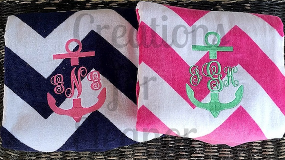 Monogrammed Beach Towel, Personalized Beach Towel, Anchor Monogram, Monogrammed Towel, Bridesmaids Gift, Teachers Gift, Bachelorette Party