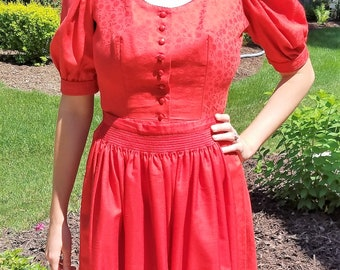 cca92949be42 Red Vintage Authentic Made in Germany Helene Straber Oktoberfest Dress w  Apron Sz Euro 38 US 6 2-pc Fraulein 1980s Long full skirt waitress