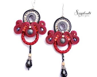 Soutache earrings. Soutache jewelry. Handmade earrings. Colourful earrings. Red earrings.Chandelier earrings. Dangle earrings. Gift for her.