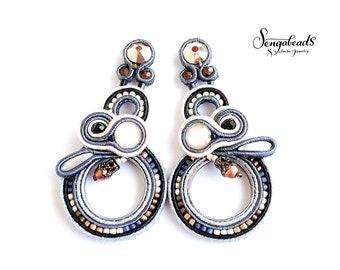Long earrings. Soutache earrings. Black and white earrings. Soutache jewelry. Luxury earrings. Black earrings.