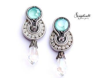 Mint green earrings. Swarovski earrings. Soutache earrings. Stud earrings. Dangle earrings. Gift for women. Statement earrings.Drop earrings
