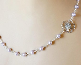 Lavender Necklace with Beaded Pearls for Anniversary Gift or Wedding Jewelry