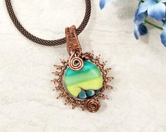 Wire Wrapped Sunburst Necklace, Sun Pendant, Copper Wire Jewelry, Wire Wrapped Jewelry