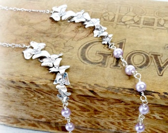 Lavender Orchid Necklace, Floral Pearl Jewelry, Bridesmaid Gift