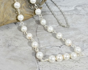 Ivory Pearl Necklace, Glass Pearl Jewelry, Birthday Gift for Her