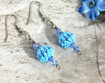 Light Blue Beadwork Earrings, Seed Bead Ball Earrings, Gift Ideas for Her