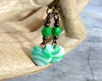Sweetheart Heart Earrings, Handmade Romantic Jewelry