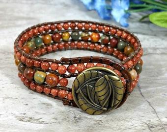 Autumn Beaded Bracelet, Handmade Earthy Jewelry for Fall, Boho Gift for Women