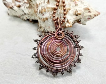 Wire Wrapped Sunburst Necklace, Copper Wire Jewelry, Mens Necklace