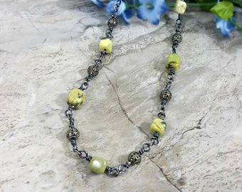 Raw Turquoise Necklace in Gypsy Fashion, Yellow Stone Jewelry
