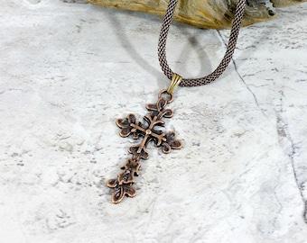 Mens Cross Necklace in Copper, Celtic Cross Pendant, Unisex Jewelry