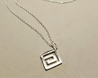 Geometric Jewelry, Minimalist Necklace with Square Pendant in Sterling Silver,