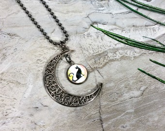 Half Moon Necklace with a Cat in the Moon Charm, Halloween Cat for a Witchy Gift