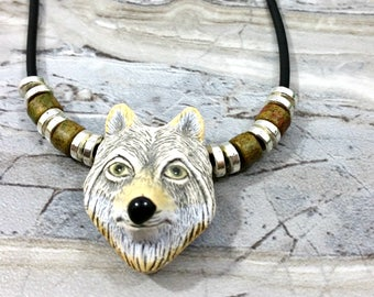 Mens Wolf Necklace, Tribal Pendant, Wolf Jewelry for Mens Gift Idea, Boyfriend Gift