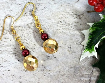 Chunky Gold Earrings, Winter Jewelry, Holiday Spirit Evening Earrings