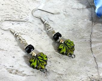 Green Leaf Earrings, Nature Jewelry Women