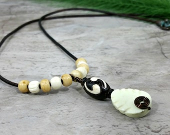 Yin Yang Necklace, Carved Bone Pendant, Unisex Jewelry