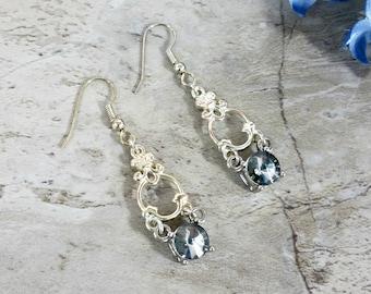 Smokey Gray Chandelier Earrings, Vintage Style Rhinestone Jewelry