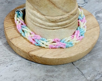 Braided Bracelet in Pastel Colors, Seed Bead Jewelry for Women, Colorful Birthday Gift