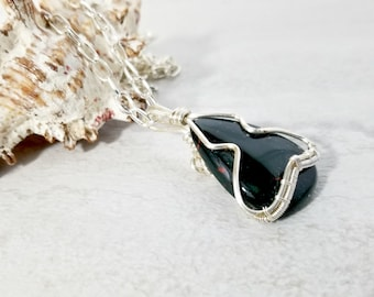 Wire Wrapped Black Onyx Pendant, Gemstone Jewelry, Necklace for Men
