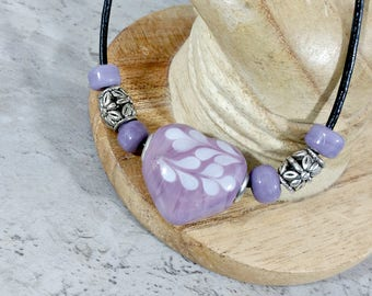 Purple Heart Pendant Necklace in Boho Chic Style, Everyday Jewelry