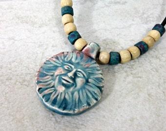 Boho Sun Celestial Necklace, Sun Pendant, Bohemian Jewelry, Hippie Gifts