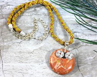Kumihimo Necklace, Cotton Cord Fiber Jewelry