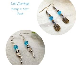Owl Earrings, Owl Lover Gift