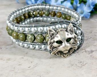 Boho Cat Lover Gift ~ Beaded Cat Bracelet for Women