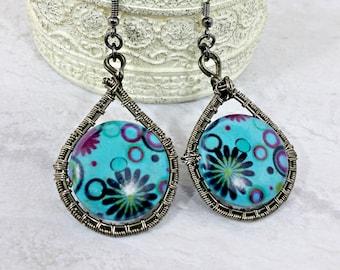 Unusal Earrings Hippie, Boho Jewelry, Wire Weave Earrings