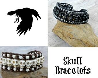 Mens Skull Bracelet for Halloween, Unisex Skull Jewelry for Halloween Gift