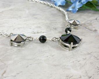 Rhinestone Jewelry, Black Geometric Necklace