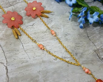 Pink Flower Necklace, Dusty Pink Blossom Jewelry