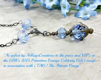 Blue Crystal Prism Necklace, Y Necklace Romantic Gift