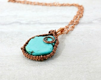 Wire Woven Raw Turquoise Necklace, Magnesite Turquoise Pendant, Unisex Jewelry