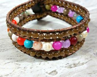 Beaded Clock Bracelet, Boho Jewelry, Gift for Her