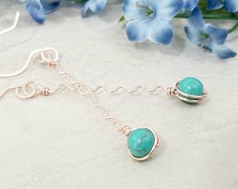 Long Wavy Earrings, Turquoise Jewelry Gift Idea, Rose Gold Jewelry, Hippie Earrings