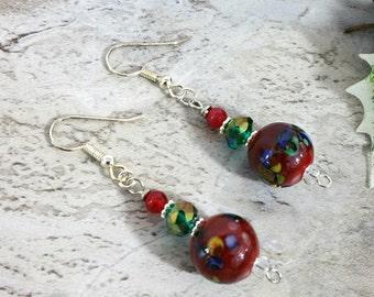 Red Drop Earrings Dangle, Red Jewelry, Festive Bright Earrings