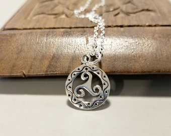 Sterling Silver Celtic Necklace, Triskelion Necklace, Triskelion Jewelry