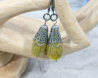 Lemon Yellow Simple Cute Earrings, Japanese Style Art Deco Earrings, Jewelry for Women