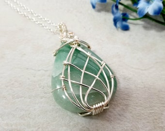 Aventurine Necklace for Women, Wire Wrapped Necklace, Gemstone Pendant, Handcrafted Jewelry