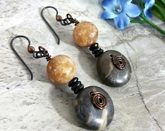 Casual Tribal Gypsy Earrings, Rustic Style Gemstone Jewelry, Earrings Birthday Gift
