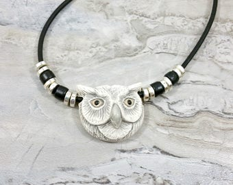 Silver Owl Necklace Unisex Jewelry, Gift for Nature Lovers or Owl Lover