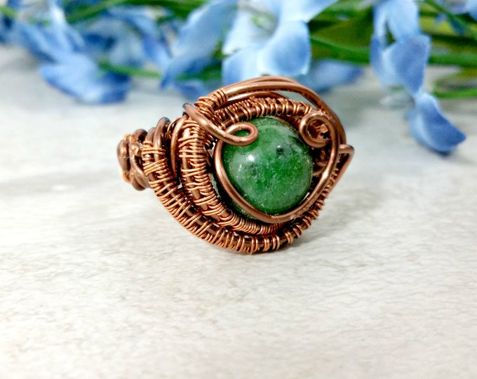 Featured listing image: Wire Wrapped Ring, Mens Copper Wire Wrapped Jewelry, Boho Gemstone Ring
