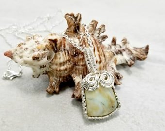 Petrified Wood Necklace, Wire Woven Pendant, Earthy Jewelry