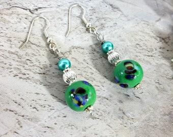 Green Ball Drop Earrings, Christmas Jewelry, Green Gift
