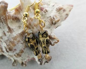 Owl Dangling Earrings, Womens Gift Idea